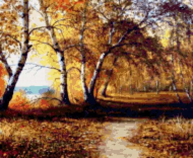 Осенний пейзаж с берёзками,