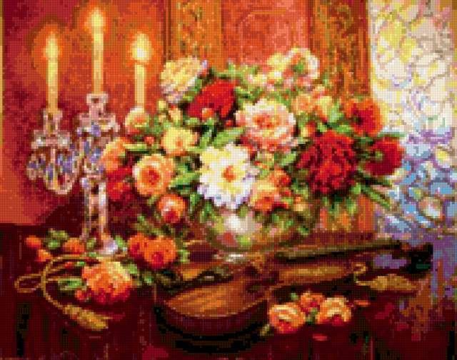 Скрипка, свечи и цветы,