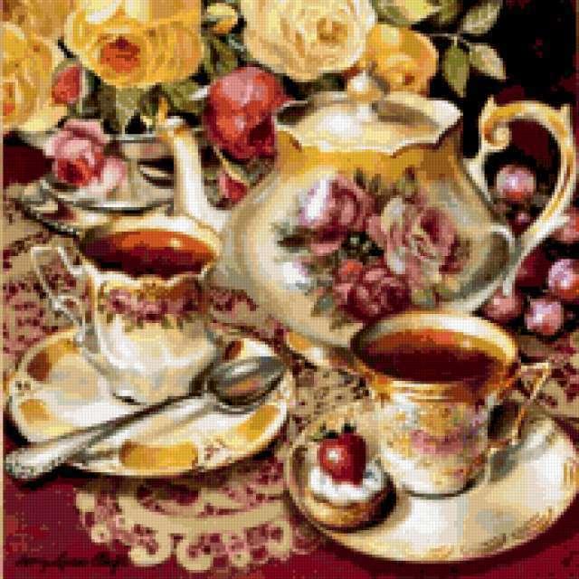 Чайный сервиз с розами,