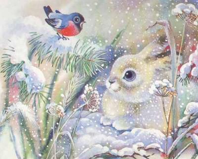 Белый зайчик и снегирь, зима,