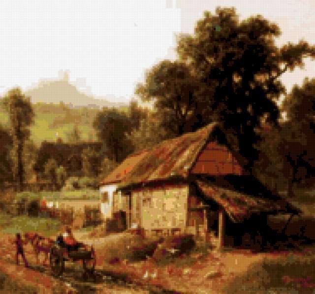 Деревенский пейзаж с домиком,