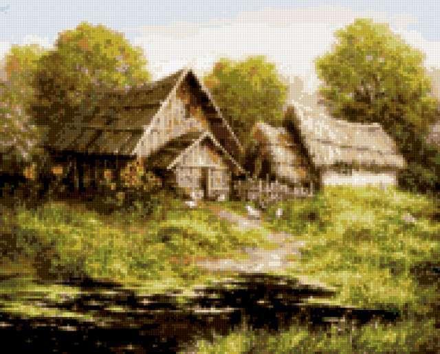 лето, домик, дома, река