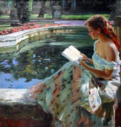 Чтение у пруда, оригинал