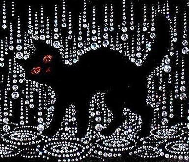 Чёрный кот под дождём,