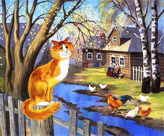 Мартовский котик в деревне,