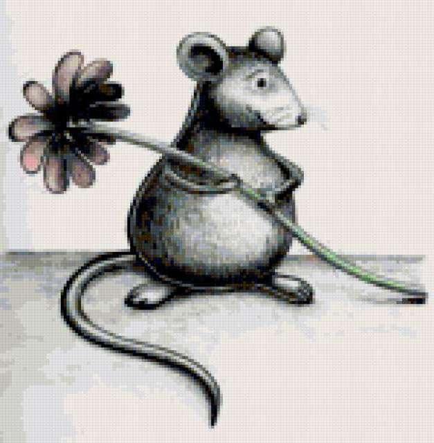 Мышонок с цветком