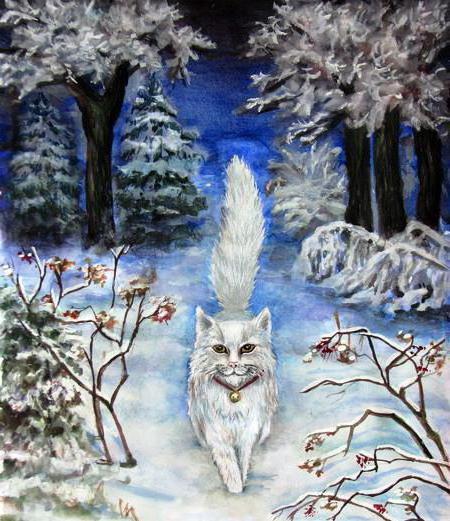 Белый кот в зимнем лесу,