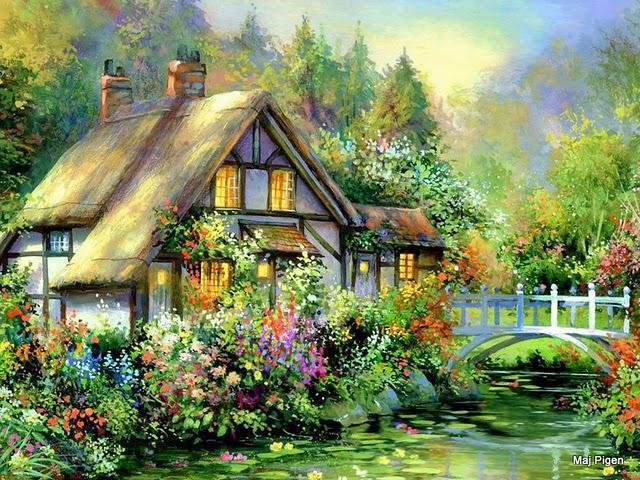 Дом на берегу реки, природа,