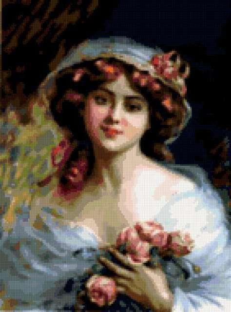 Девушка с розами, живопись
