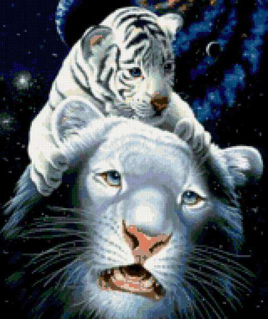 Белая тигрица и тигрёнок,