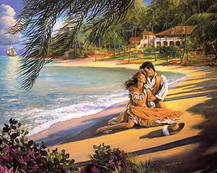 Влюблённые на морском берегу,