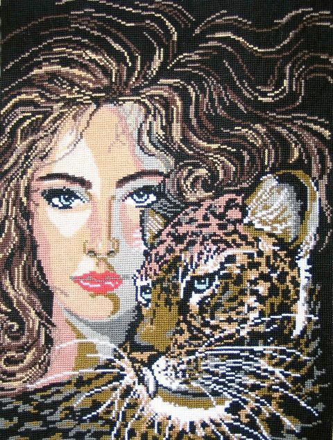 Девушка и ягуар, портрет,