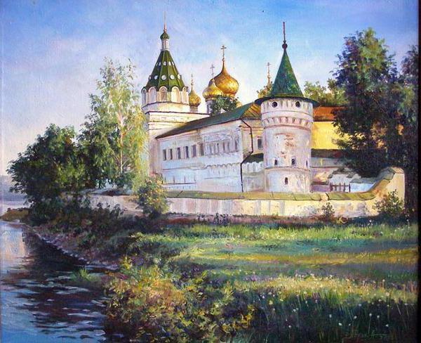 Храм на берегу реки, живопись,