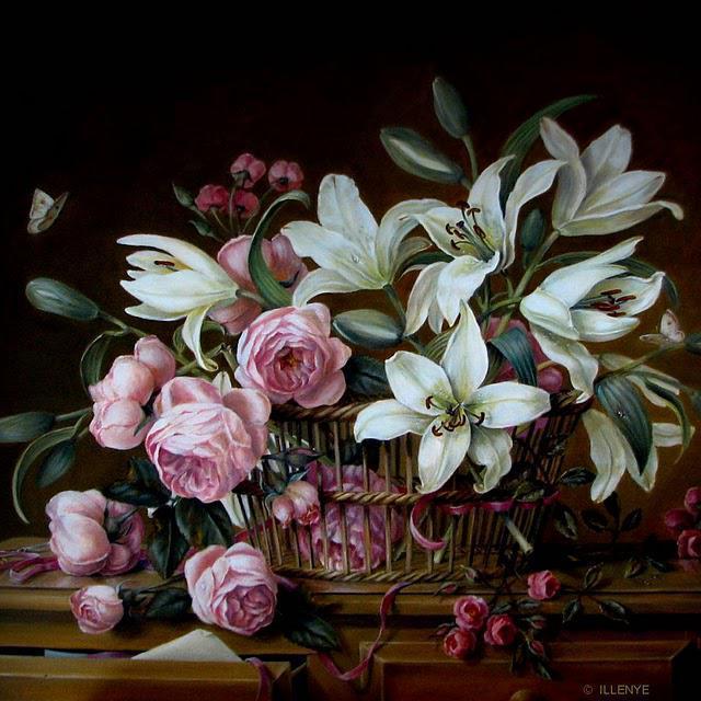 Розы и лилии, розы, лилии,