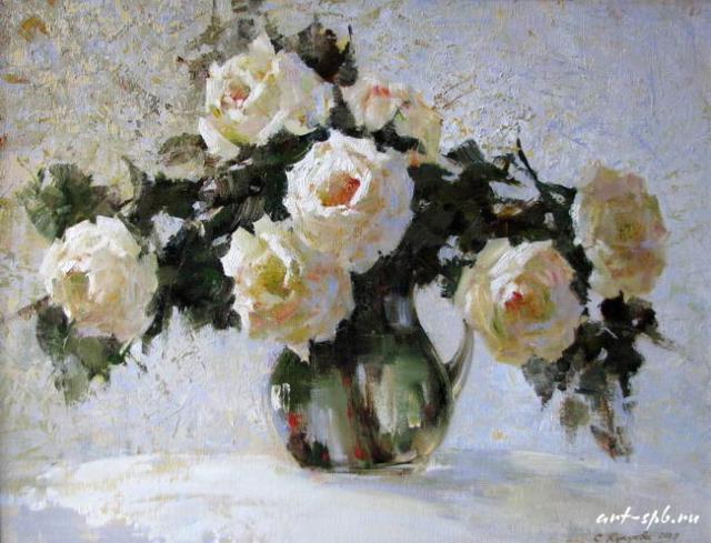 Белые розы маслом, оригинал