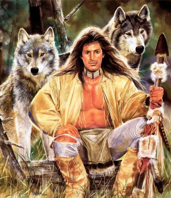 Индеец и волки, жанровая,
