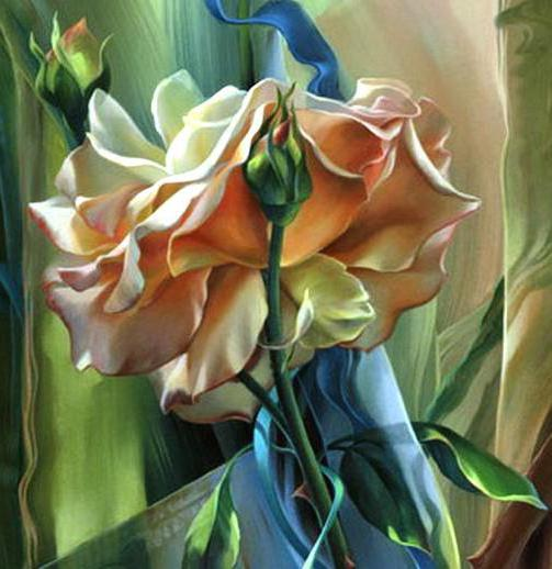 Шёлковые ленты и роза, цветы,