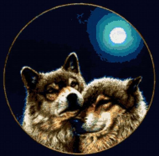 Два волка и луна на чёрном,