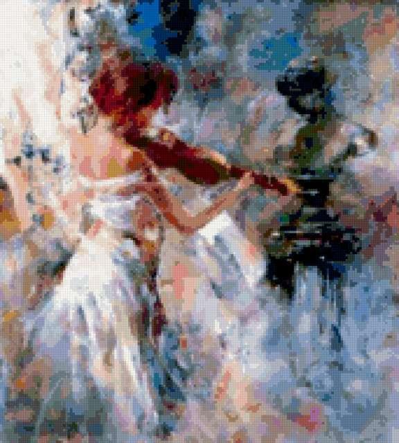 скрипачка, люди, живопись
