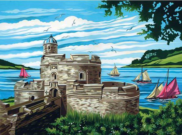 Замок, пейзаж, город, дома,