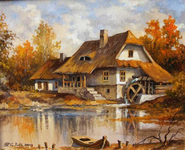 ручей, пруд, дома, осень