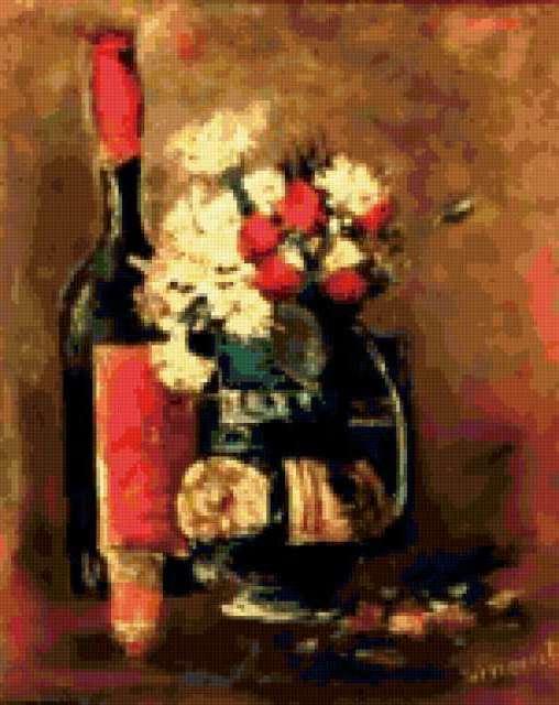 Ваза гвоздики и розы и бутылки