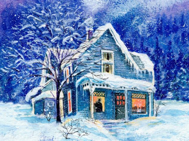 Зимний домик, зимняя картина,