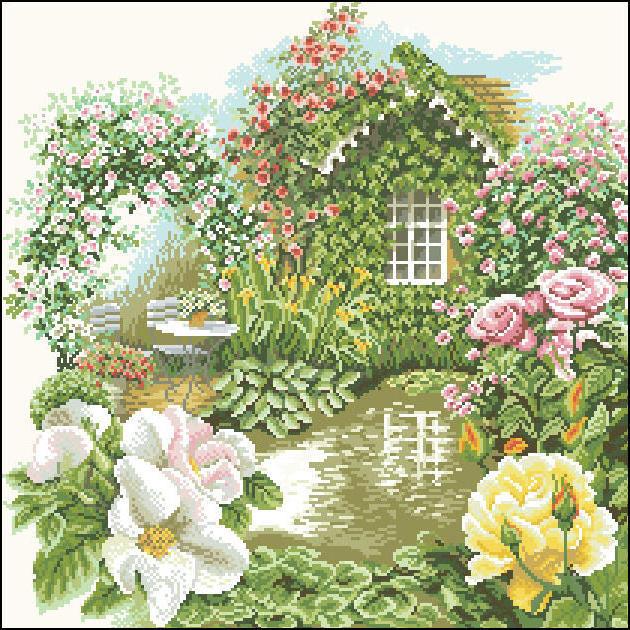 Домик в саду, роза, розы,