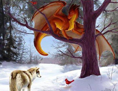 Дракон и волк в зимнем лесу,