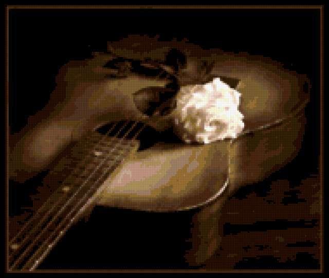Гитара и белая роза,