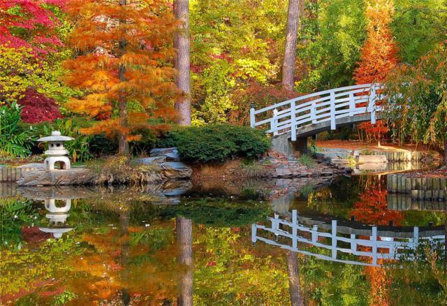 Осенний пейзаж с мостом,