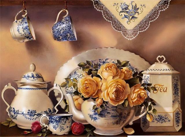 Натюрморт с чайным сервизом,
