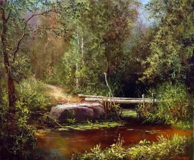Пейзаж с лесной речкой,
