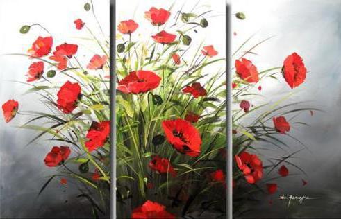 триптих, картина, цветы