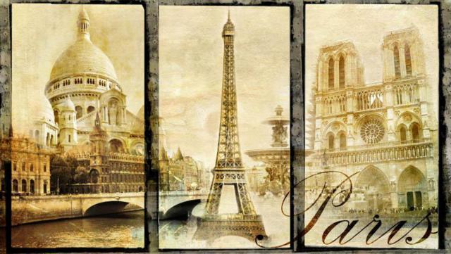 Триптих Париж Вышивка Крестом