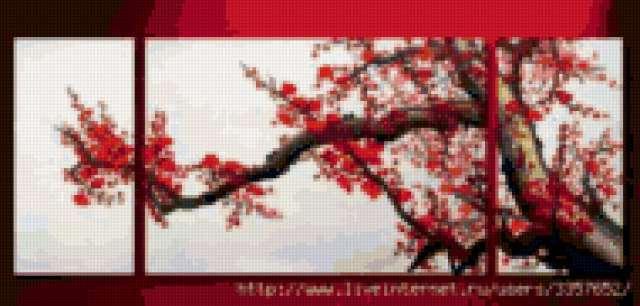 Триптих Цветущая сакура