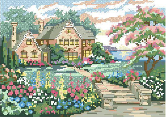 Дом в цветах, природа, цветы,