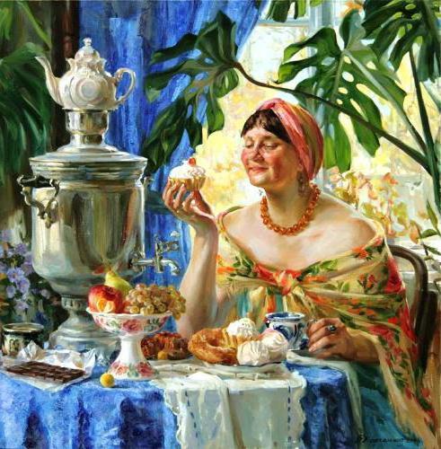Чаепитие с самоваром, жанровая