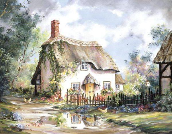 Сельский пейзаж, живопись