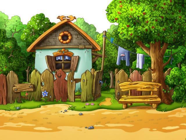 Домик в деревне, пейзаж, лето,