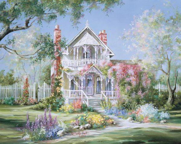 Цветущий сад, живопись, пейзаж