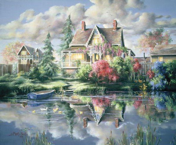 Дом на берегу , живопись,
