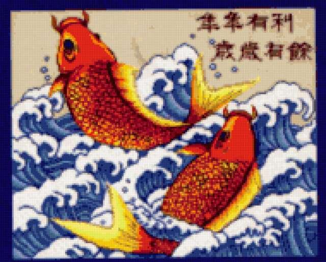 рыбы, золото, карпы, фэн