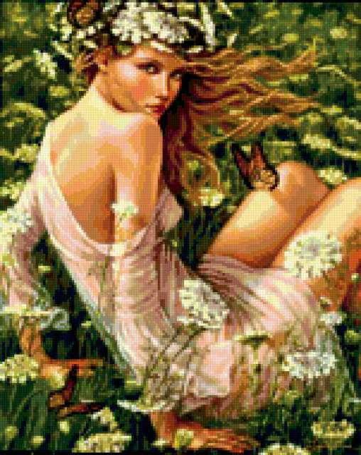 Девушка-лето, девушка, цветы,