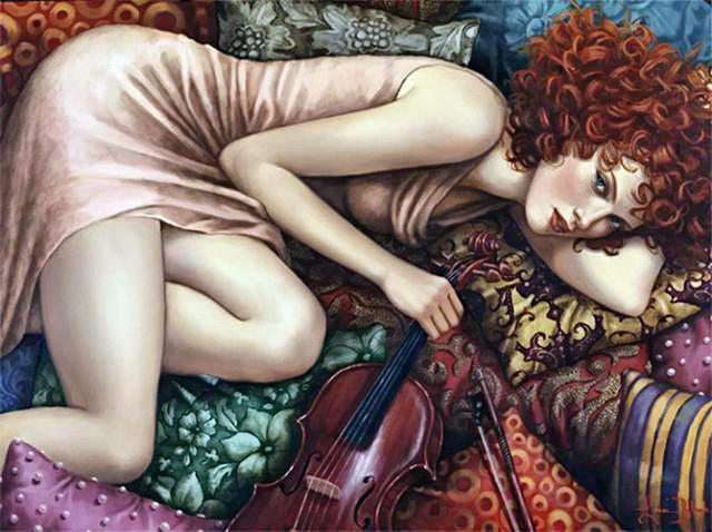 Рыжая скрипачка, девушка