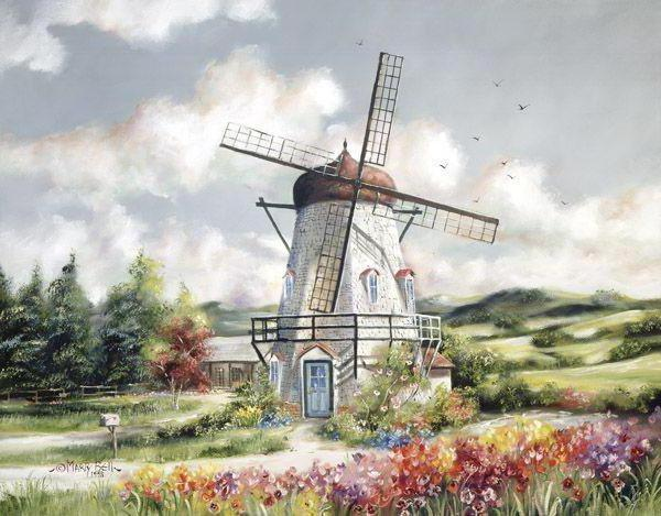 Ветряная мельница, живопись