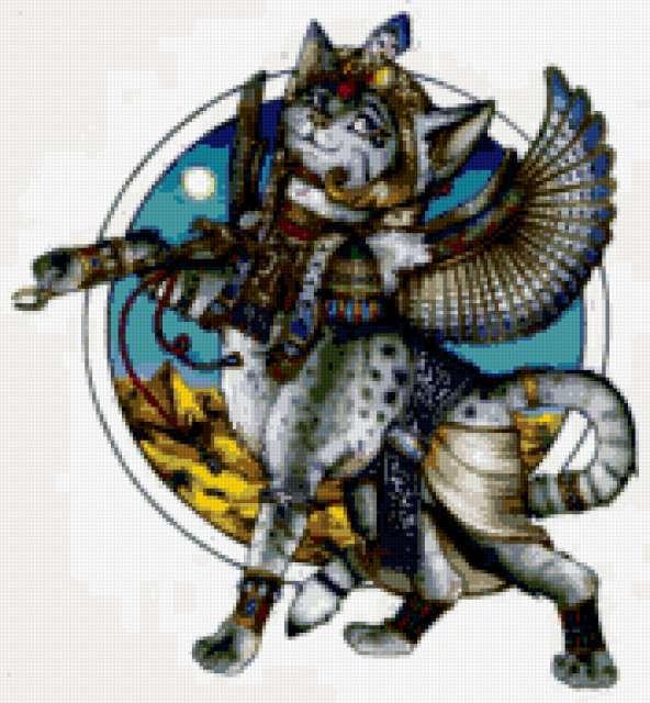 Египетская кошка схема вышивки крестом 100