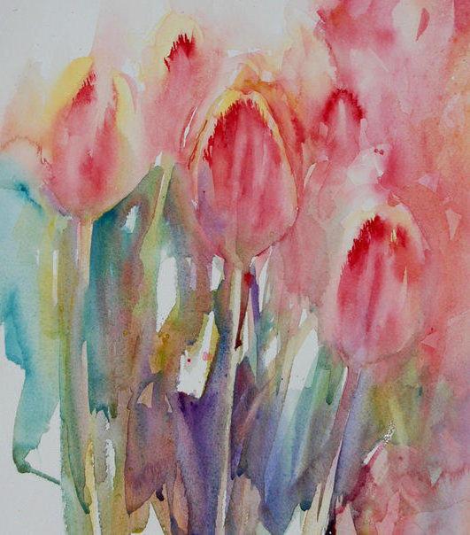 Акварельные тюльпаны, оригинал