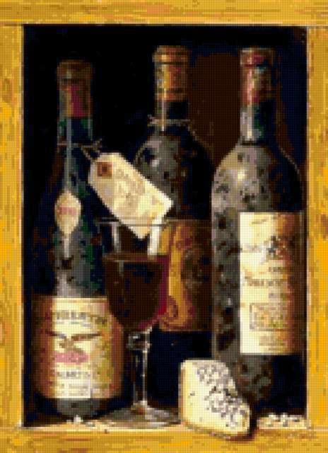 натюрморт, бутылка, бокал,
