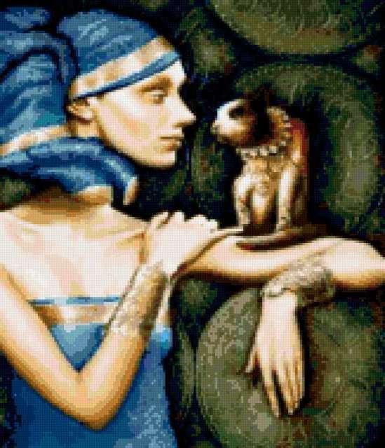 Египтянка с кошкой, девушка,